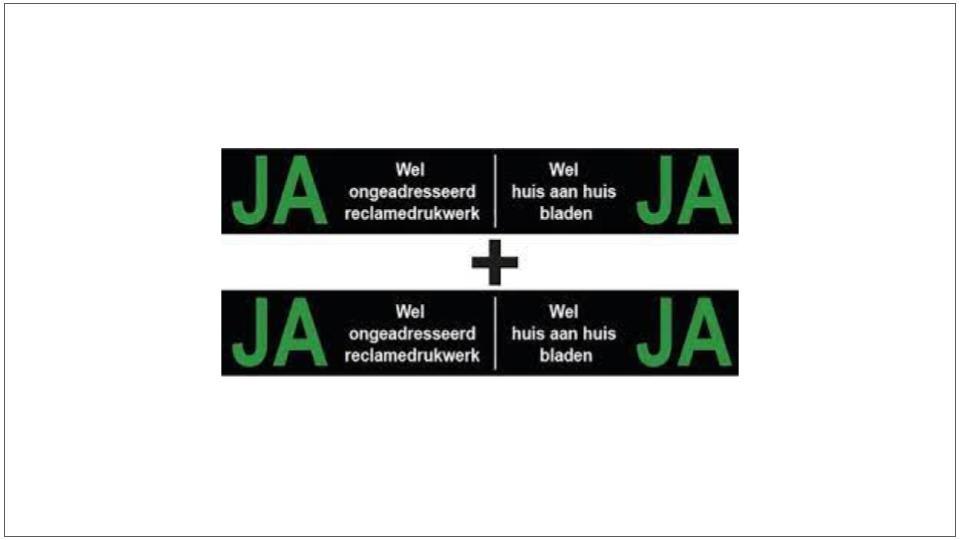 JA-JA sticker voorkomt ongeadresseerde folders in je brievenbus