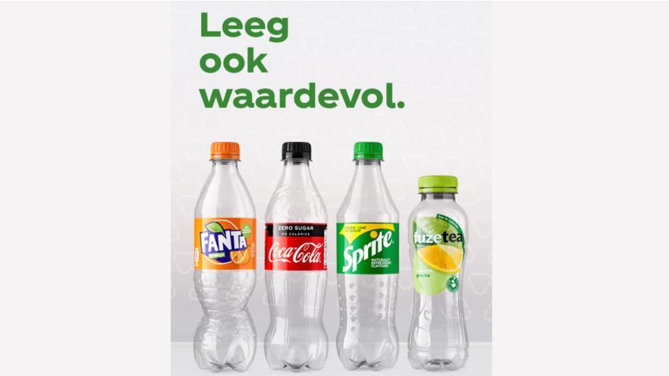 Flessen Coca-Cola Nederland volledig gerecycled plastic
