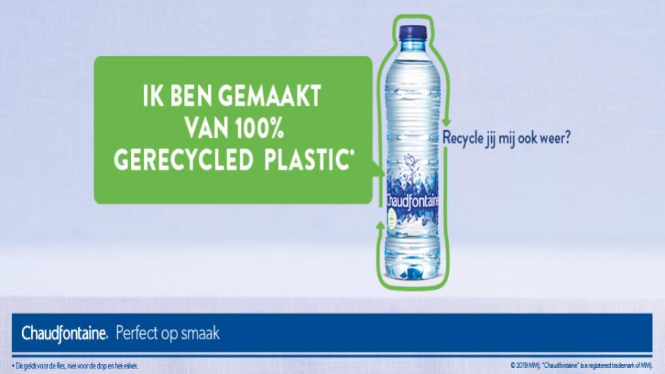 ALLE CHAUDFONTAINE PET-FLESSEN ZIJN VANAF NU GEMAAKT VAN 100% GERECYCLED PLASTIC.